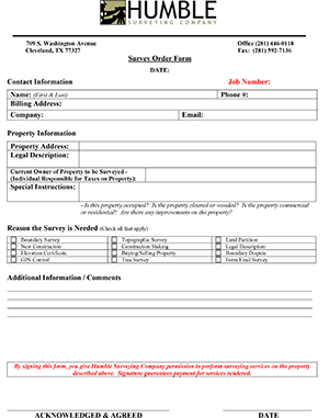 Humble Surveying Order Form